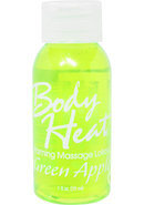 Body Heat Edible Warming Massage Lotion Green Apple 1 Ounce