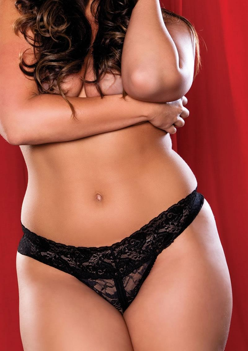 Jenna Crotchless Thong - Black - Q/s